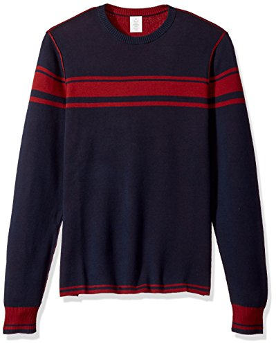 Original Penguin Men's Reversible Chest Striped Crew Sweater, Dark Sapphire, Extra Large