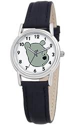 Disney Women's D093S005 Winnie The Pooh Black Leather Strap Watch