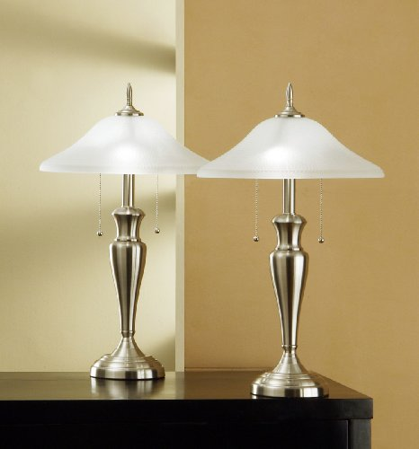 Artiva USA Twin-Pack Classic Cordinates, 24-Inch Brushed Steel Table Lamps Set with Hammered Glass Shades