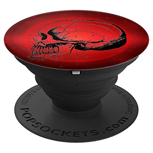 Black Anatomical Skull Dentist Drawing Red Supernova Star - PopSockets Grip and Stand for Phones and Tablets - Nova Anatomical Handle