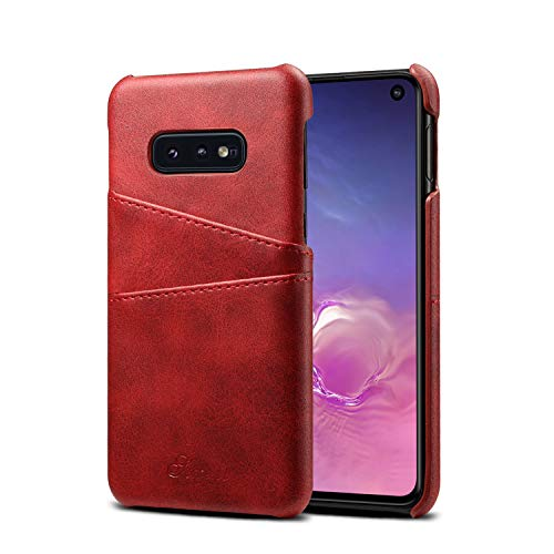 (S10e Case Cover Galaxy Samsung,Slim Fit Protective Red PU Leather Thin Credit Card Holder Women Girl Fashion Phone Shell for S10E 2019 5.8inches)