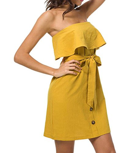 Cromoncent Femmes Mini Bustier Robe Tube Sexy À Volants Mini-robe Jaune