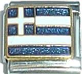 Stylysh Charms Greece Greek Flag Ceramic...