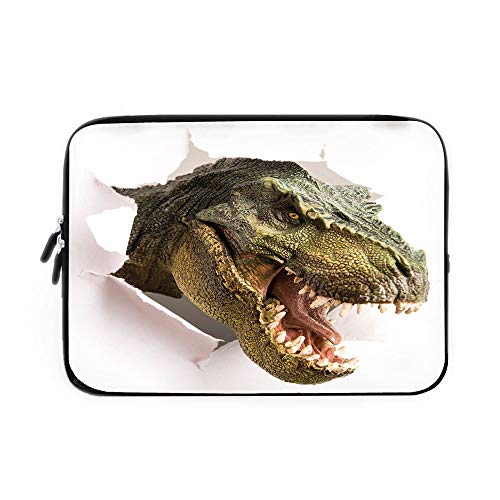 Dinosaur Laptop Sleeve Bag,Neoprene Sleeve Case/Dangerous Dinosaur Tears Up The Paper Wall Image Scary Break Scenery/for Apple MacBook Air Samsung Google Acer HP DELL Lenovo AsusGreen Army Gr
