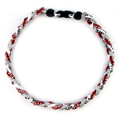 "MapofBeauty 18"" Sport Style Three Colors Fashion Three Braided Rope Tornado Necklace (Dark Red/ Grey/ White)"