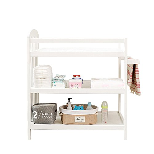 Baby Changing Table Nationwel Multifunction White Double Layer Baby Nursing Desk Grade 5A Pine Storage Rack Shower Stand Finishing Table Load 100 Kg