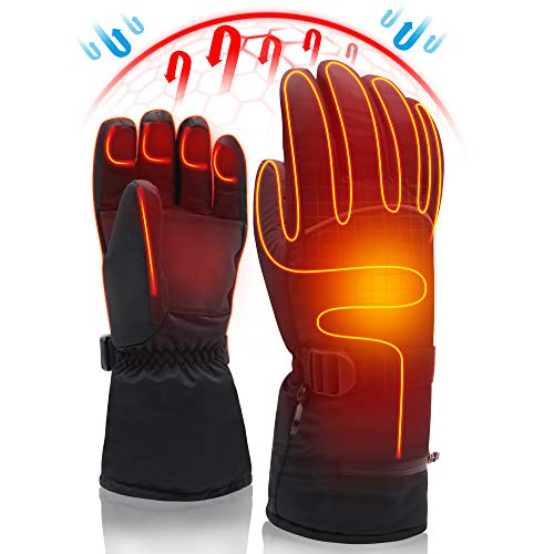 Electric Rechargeable Battery Heated Gloves,Cold Weather Thermal Heat Gloves Mittens,Sport Outdoor Warm Winter Heated Gloves,Cycle Motorcycle Drive Camp Hike Ski Heated Handwarmer (7.4V Gloves-XL) (Best Ski Gloves 2019)
