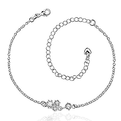 Discount Women Diamond Beaded Ankle Bracelet Silver Plated Jewelry Barefoot Sandal Beach Foot Chain for sale