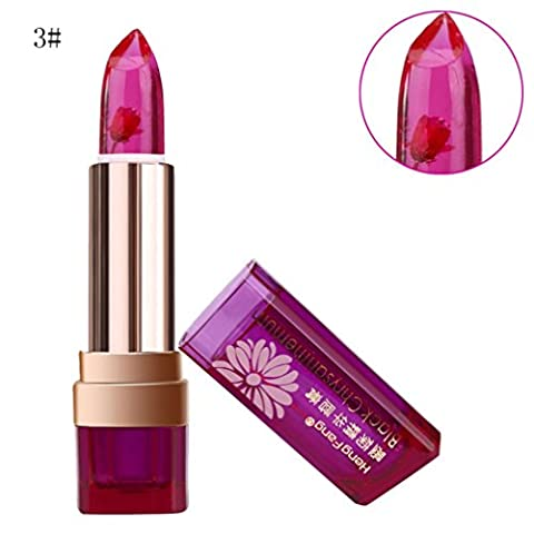 Luversco Long Lasting Lip Gloss Color Changing Flower Jelly Beauty Lipstick Moisturizing (Red (C)) - Lip Colour Loreal Infallible 1 Kit