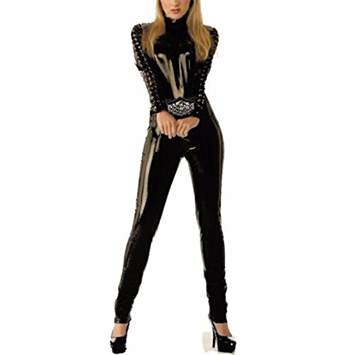 Arkham Knight Catwoman Costume (Wondermiracle Womens Latex Vinyl Faux Leather Zipper to Crotch Catwoman Jumpsuit Catsuit)