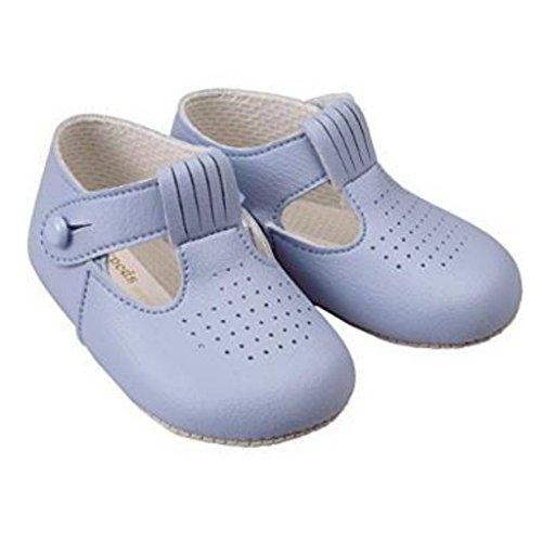 Niños bebés Zapatos T Bar cochecito con patrón de agujeros de corte - Hecho en Inglaterra por primeros días Baypods Azul