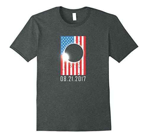 Mens Total Solar Eclipse August 21 2017 USA American Flag T Shirt Large Dark - Solar For Sunglasses Shield Eclipse