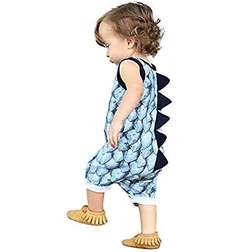 aby Boys Dinosaur Sleeveless Jumpsuit Romper Onesie (Blue, 100/12-18 Months) ()