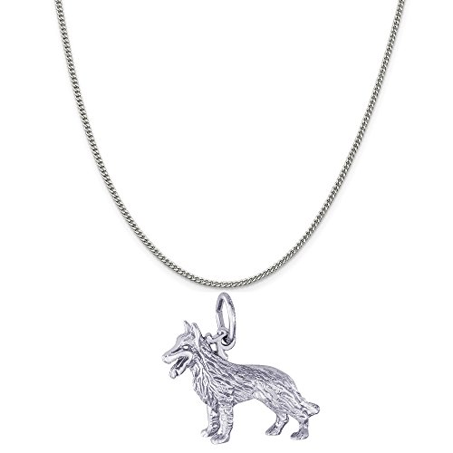 Rembrandt Dog - Rembrandt Charms Sterling Silver German Shepherd Dog Charm on a Curb Chain Necklace, 18
