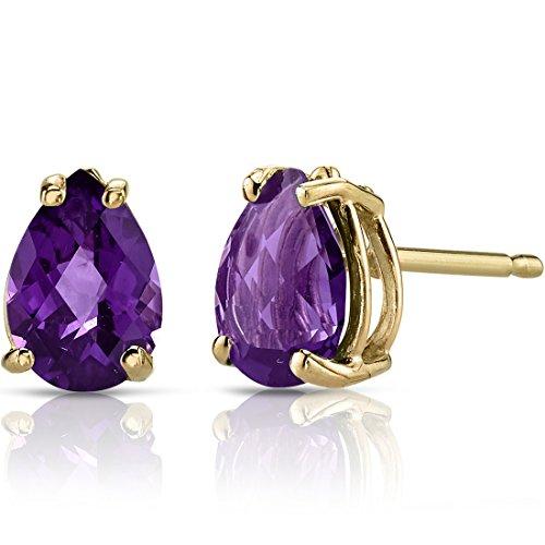 14k Yellow Gold Violet (14K Yellow Gold Pear Shape 1.00 Carats Amethyst Stud Earrings)