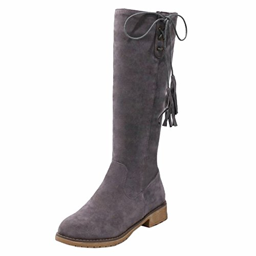 KemeKiss Zipper Gray Women Side Boots 0qZxwzr0