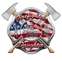 American Flag Maltese Cross Firefighters Daughter Decal - 2