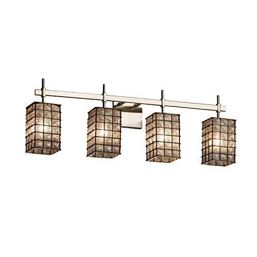 Justice Design Group Lighting WGL-8414-15-GRCB-NCKL Justice Design Group - Wire Glass - Union 4-Light Bath bar - Square with Flat Rim - Brushed Nickel Finish with Grid & Clear Bubbles Shade,