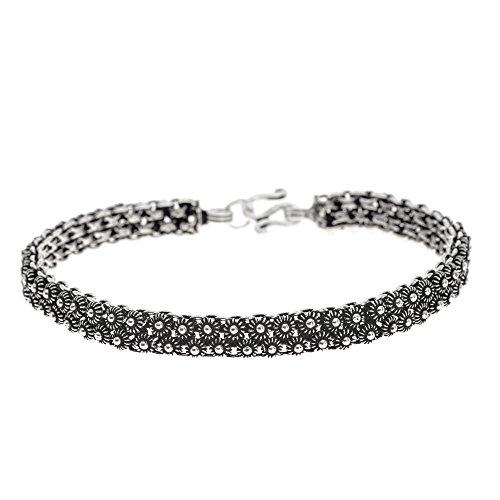 (Silverly Women's .925 Sterling Silver Vintage Art Deco Style Oxidised Flower Chain Bracelet, 19 cm)