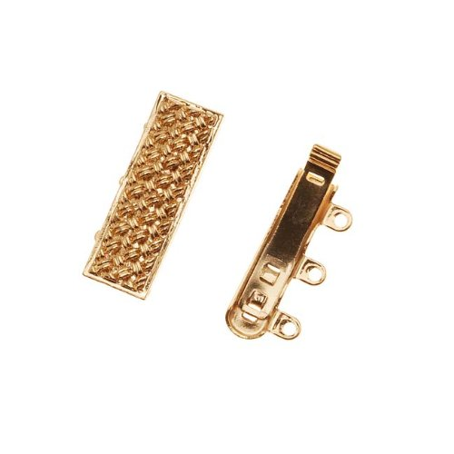 Elegant Elements 23K Gold Plated 3-Strand Box Clasp - Rectangle With Crosshatch Design 10x19mm