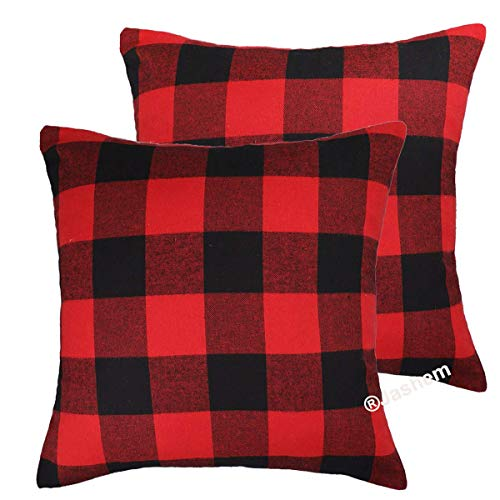(Jashem Christmas Black and Red Rustic Throw Pillow Cover Buffalo Check Plaid Pillow Cover 18x18 Inch Cotton Cushion Cover Pillow Case for Valentine's Day Decor Set of 2 (Big Plaid red Black))