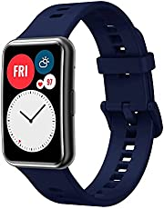 Soft Silicone Sport Band Stripe Silicone Wrist Strap Replacement for Huawei Watch Fit Fitness Smart Watch Huawei Fit - Blue