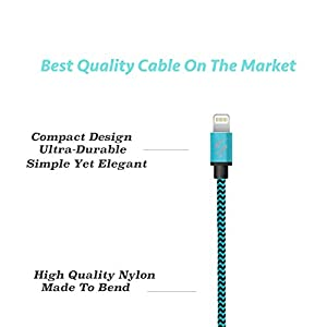 SyncTech Premium Nylon Braided Tangle-Free 1FT 3FT 6FT Lightning Cable Durable High-Speed Syncing/Charging for iPhone 7/6s/6/5/5s/SE/Plus iPad Mini/Air/Pro (2.) Blue - 1FT - 3FT - 6FT)