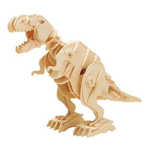 ROBOTIME Walking Trex Dinosaur 3D Wooden Craft Kit Puzzle for Kids,Sound Control Robot T-Rex Model Kits for 7 8 9 10 11 12 Year Old Boys -