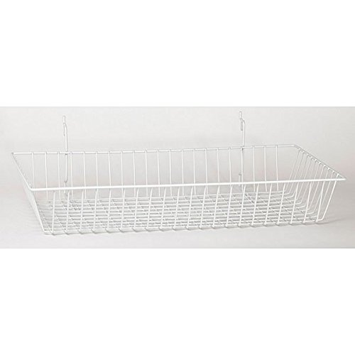 Lot of 8 New Retails White Grid Wire Basket 24''w x 12''d x 4''h