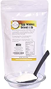 1 lb (16oz) Dried Egg Whites (Non-GMO, Pasteurized, Made in USA, 1 Ingredient no additives, Produced from the Freshest of Eggs)(50 lb Bulk Size Available)