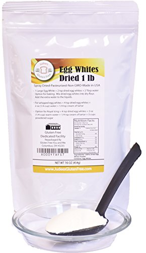 Judee's 1 lb (16oz) Dried Egg Whites (Non-GMO, Pasteurized, USA Made, 1 Ingredient no additives, USDA Certified, Freshest of Eggs)(50 lb Bulk Size Available)
