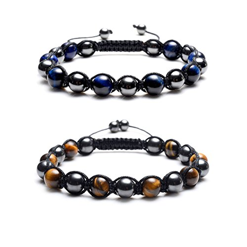 Top Plaza Men's Women's Reiki Healing Energy Natural Tiger Eye Stone Magnetic Hematite Therapy Beads Macrame Adjustable Braided Link Bracelet(Set of 2)