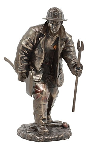 Ebros Faux Bronze Fireman With Fire Axe And Fork Statue 7.25