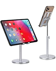 Phone Holder, Tablet Stand, Abetcabe 1 Pack Angle Height Adjustable Cell Phone Holder Tablet Stand for Desk Compatible with iPhone 12/12 mini/ SE 11 Pro Max X XS XR 8 Plus,Pad,Pad Pro, Samsung Galaxy S20 S10 S9 S8 Plus (4-12.9 inch)