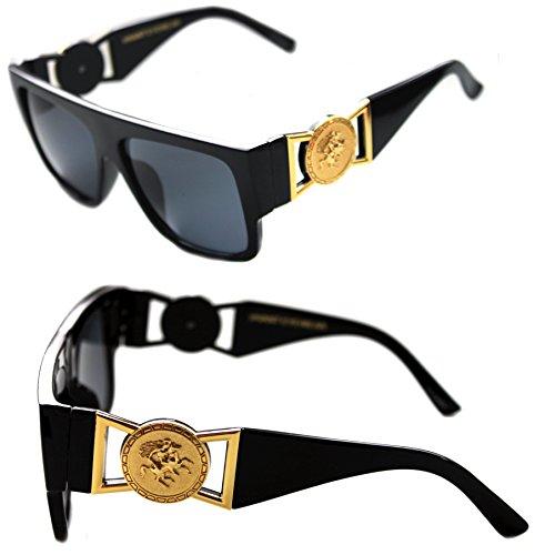 MEN'S FLAT TOP GOLD COIN DESIGNER HIP HOP VINTAGE 424 RETRO 80'S 90'S (Black Gold, Black) by Krueger Haus