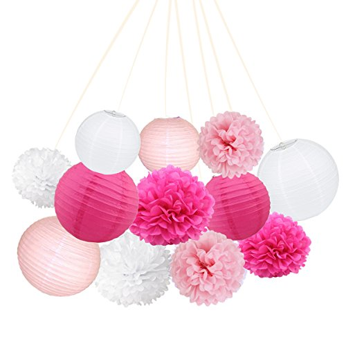 ARDUX 12 Pcs/lot Chinese Paper Lanterns + Paper Flowers Decor for Fiesta Anniversary Birthday Wedding Ceiling Party Supplies Favors Hanging Decoration (Rose Red + Pink + White)