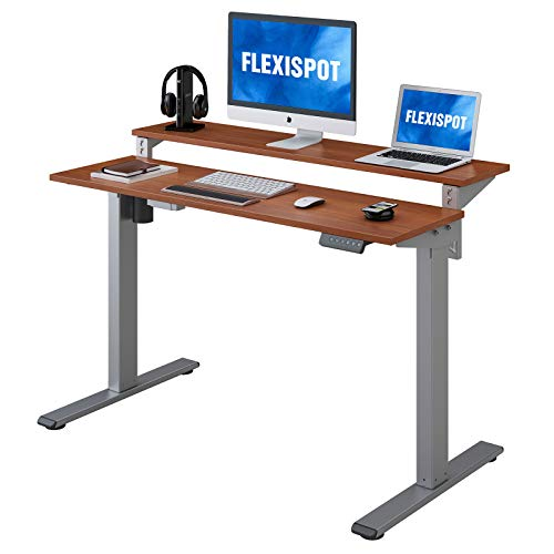 Flexispot-EF1-2-Tier-Standing-Desk-48-in-Electric-Height-Adjustable-Computer-Desk-with-Adjustable-Shelf-Dual-Tier-Sit-Stand-Up-Desk-Memory-Controller-for-Home-Office-Silver-Frame-Mahogany-Top