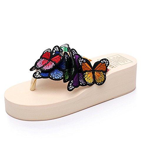 Summer Flops Sandals Beige Beach Butterfly Wedge JESSI Thong Bohemian Slip MAIERNISI Women Platform Flip Anti xqZ0OXRCw