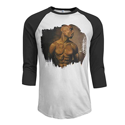 Pollane Men's 2Pac Until The End of Time 3/4 Sleeve Raglan Baseball T Shirt Black,Black,Small (2pac Until The End Of Time Tracklist)