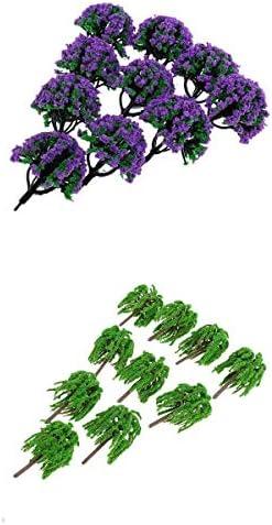 T TOOYFUL モデルツリー 1/150 紫 花木 ヤナギ 森 緑の木 ジオラマ 庭 公園風景 鉄道風景 写真 約20本