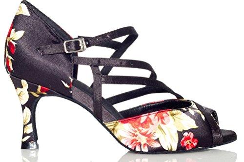 Womens Wedding Latin Dance Tango Satin L008 Shoes Ballroom Salabobo cha Party Prom Black Cha 65qanw