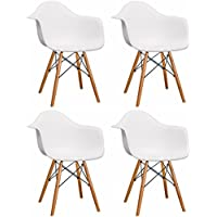 Mod Made Mid Century Modern Paris Tower Dining Arm Chair Wood Leg, White, Set of 4