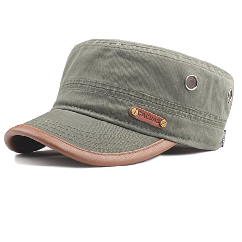 - CACUSS Men's Cotton Army Cap Cadet Hat Military Flat Top Adjustable Baseball Cap(Olive Green)