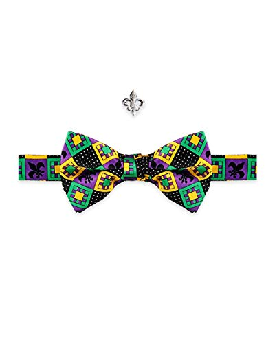 Fleur De Lis Tie Pin - Mardi Gras Patchwork Fleur De lis Pre-Tied Bow Tie & Lapel Fleur De lis Pin Set masquerade Costume Ball