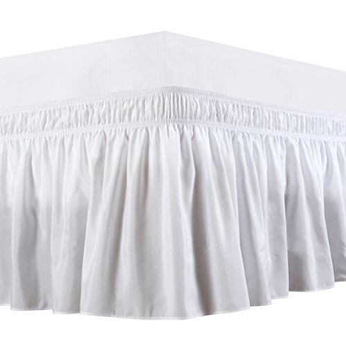 Biscaynebay Wrap Around Bed Skirt, Elastic Dust Ruffles, Easy Fit Wrinkle and Fade Resistant, Luxurious Fabric, White, Queen, 15