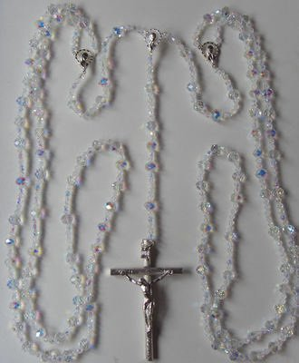 Wedding lasso lazo rosary beads - iridescent bicone glass 10cm crucifix