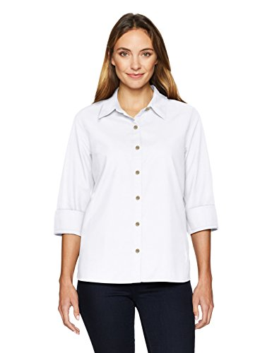 (Chic Classic Collection Women's Button Front 3/4 Sleeve Woven Shirt-Solid, Arctic White L)