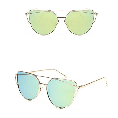 Lunettes De Soleil Covermason Mode Twin-Beams Classic Women Lunettes de lunette en miroir en métal Vert