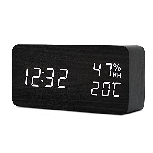 TISSA Digital Alarm Clock Wooden Alarm Clock Fashion Table C