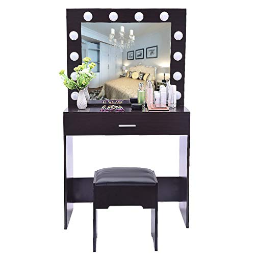 (US Fast Shippment Shmei Makeup Vanity Table Set/Square Mirror Dressing Table Makeup Table Vanity Set with Lighted Mirror Cushioned Stool for Kids Girls Women Bedroom Furniture)